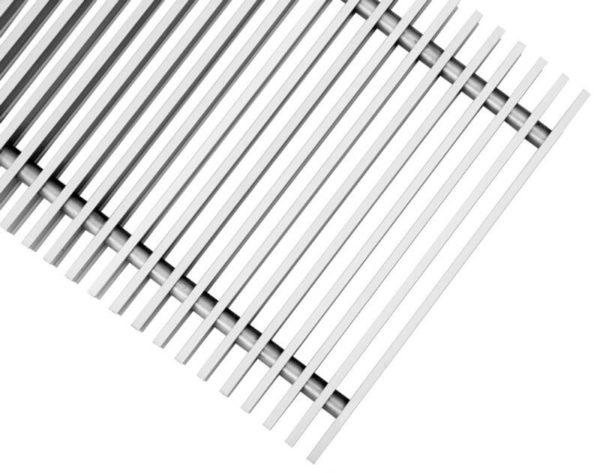 Купить Декоративная рулонная решетка Бриз (алюминий с бецветным анодированием, цвет втулок черный) шаг 12